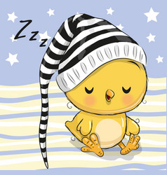 sleeping cute chicken in a hood vector image