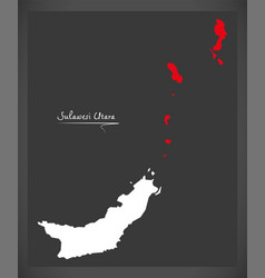 sulawesi utara indonesia map with indonesian vector image