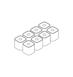Sushi roll icon isometric 3d style vector