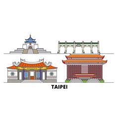 Taiwan taipei flat landmarks vector