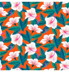 Tropical pattern with white hibiscus flowers vector image
