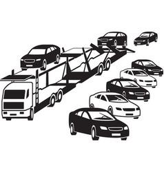 Truck unloads at a car dealership vector
