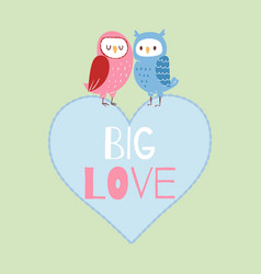 valentine owls in love card vector image