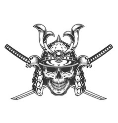 vintage monochrome skull in samurai helmet vector image