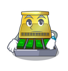 Waiting cartoon cash register with a money drawer vector