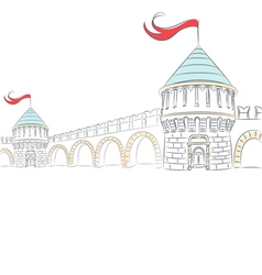 Walls and towers of a medieval castle vector image