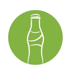 White silhouette bottle soda with green circle vector