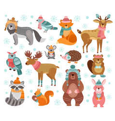 winter animal characters style holiday animals vector image