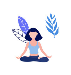 woman in lotus posture yoga meditation vector image