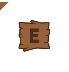 wooden alphabet or font blocks with letter e in vector image