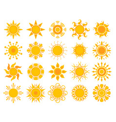 yellow sun icon orange weather sunshine summer vector image