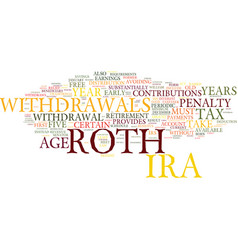 You re roth ira withdrawal text background word vector