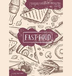 Fast food retro grunge advertising card vector