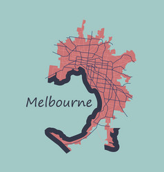melbourne australia map in retro style flat vector image vector image