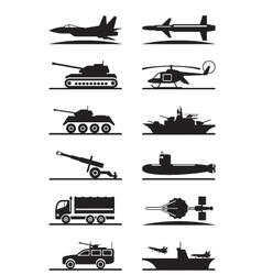 Military equipment icon set vector image