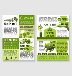 save planet nature recycling concept poster vector image vector image