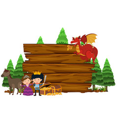wooden sign with dragon and princess vector image