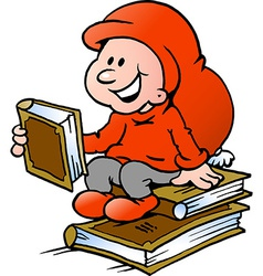 Hand-drawn of an Happy Christmas Elf reading vector image vector image