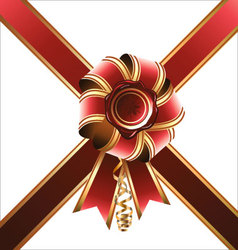 Holiday bow and ribbon vector image