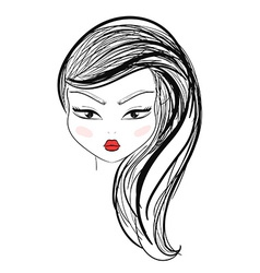 Isolated fashion girl with makeup and red lips vector image vector image