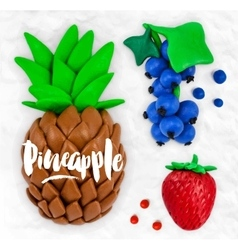Plasticine fruits pineapple vector image vector image