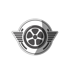 sticker car wheel award in monochrome vector image