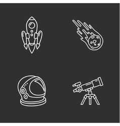 four stylish space icons vector image vector image
