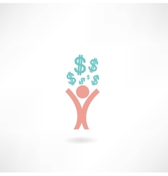 man with dollar sign icon vector image vector image