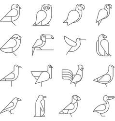 Bird icons thin line style flat design vector image