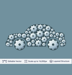 car silhouette filled with gears vector image