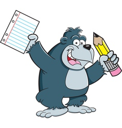 Cartoon Gorilla Student vector image vector image