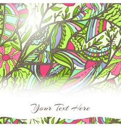 Hand-drawn card with leaves vector image vector image