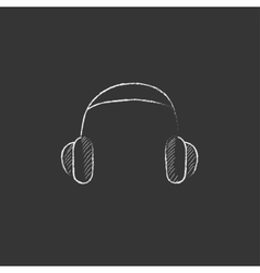 Headphone Drawn in chalk icon vector image vector image