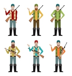 Set of Hunters vector image vector image