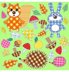 set of textile stickers vector image