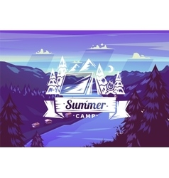 Summer camp typography design on background vector image