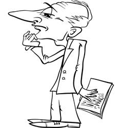 thinking man cartoon coloring page vector image