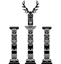 Totem pole with a deer skull vector image vector image