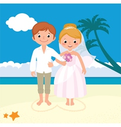 Wedding couple just married on the beach vector
