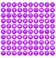 100 joy icons set purple vector