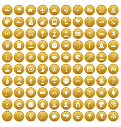 100 phobias icons set gold vector