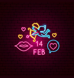 14 february neon label vector image