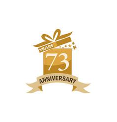 73 years gift box ribbon anniversary vector