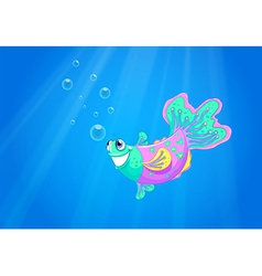 A smiling pink fish in the ocean vector
