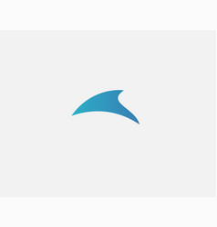 Abstract geometric minimalism shark fin logo icon vector