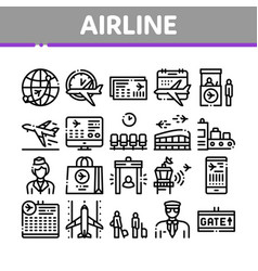 Airline and airport collection icons set vector