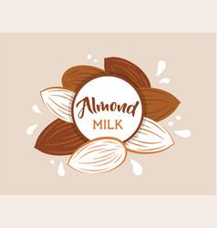 almond milk splashing effect with almond set vector image