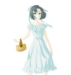 Arrogant girl used blue white dress carry a bag vector
