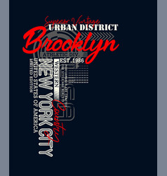athletic brooklyn typography design vector image