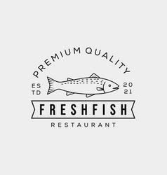 Badge fish restaurant icon fresh tuna fish logo vector